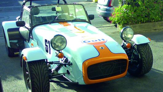 Decorazione adesivi ''Gulf'', strisce, numeri su Caterham Lotus 7