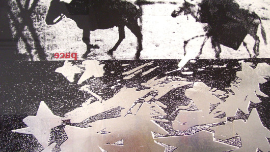 stampa serigrafica nero-rosso-lamina x Franco Ionda